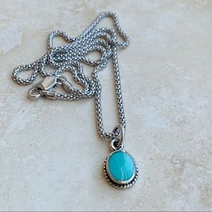 Sterling Silver Turquoise Stone Boho Necklace